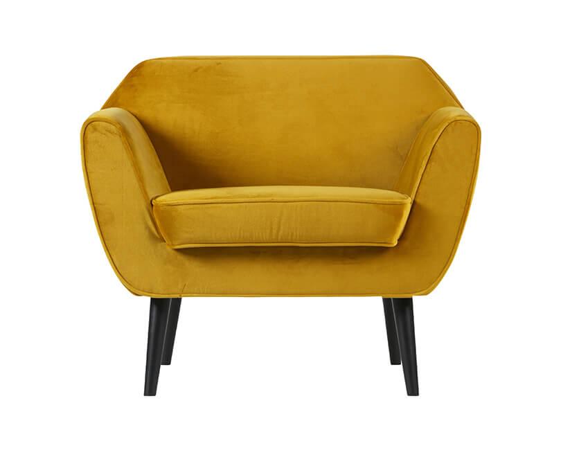 Křeslo rocco velvet žluté
