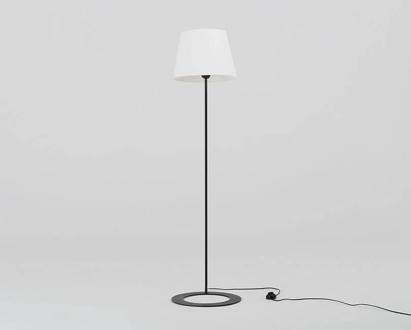 STOJÍCÍ LAMPA SHADE BÍLÁ S ČERNOU NOHOU