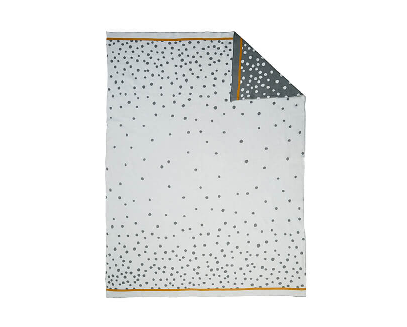 Pletená deka happy dots šedá