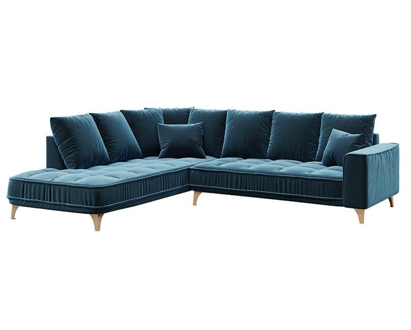 Rohová 5-místná pohovka chloe levá modrá