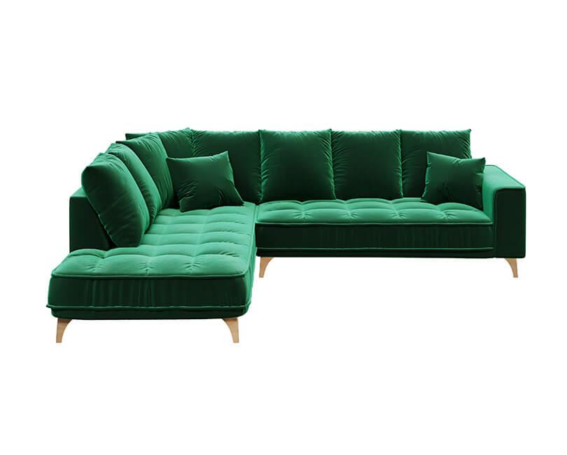 Rohová 5-místná pohovka chloe levá zelená