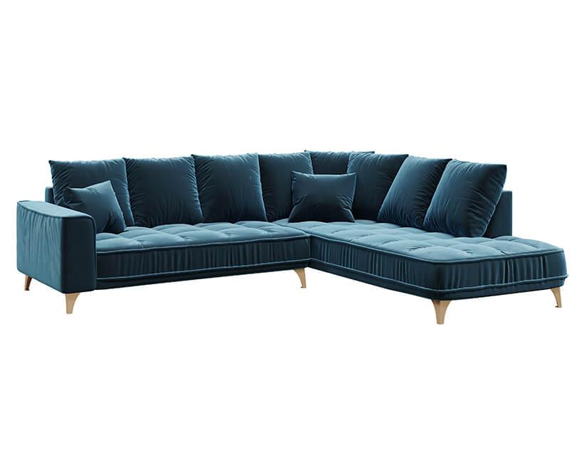 Rohová 5-místná pohovka chloe pravá modrá