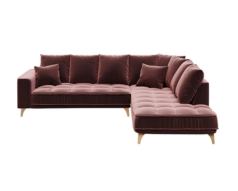 Rohová 5-místná pohovka chloe pravá růžová