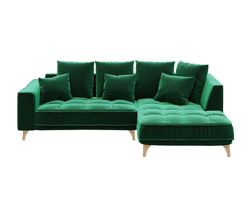 Rohová třímístná pohovka chloe pravá zelená