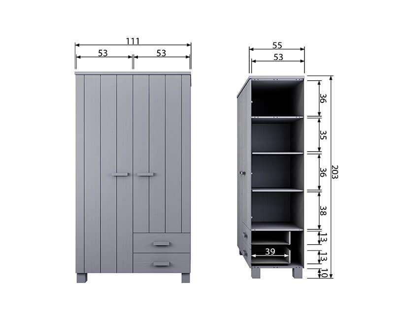 Dvoudveřová skříň dennis se šuplíky světle šedá