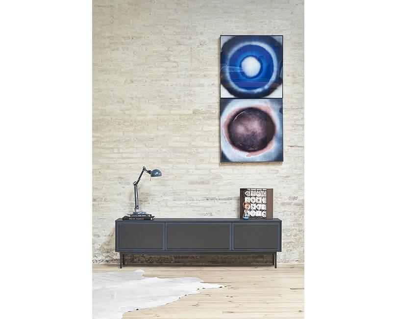 TV SKŘÍŇKA FORMA 3D TMAVĚ ŠEDÁ 180 X 40