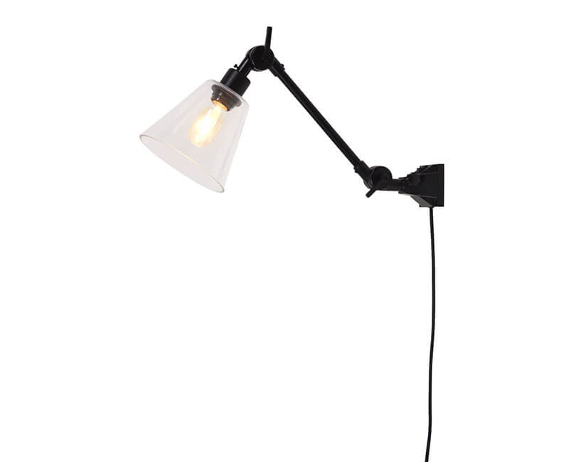 NÁSTĚNNÁ LAMPA AMSTERDAM GLASS S ČERNÁ