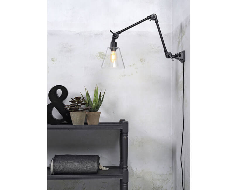 NÁSTĚNNÁ LAMPA AMSTERDAM GLASS M ČERNÁ