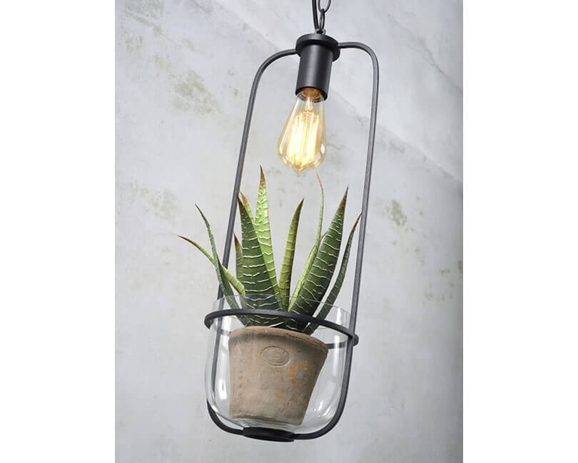 STROPNÍ LAMPA FLORENCE S KVĚTINÁČEM ČERNÁ