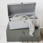 Úložný box suitcase šedý a zelený 2ks