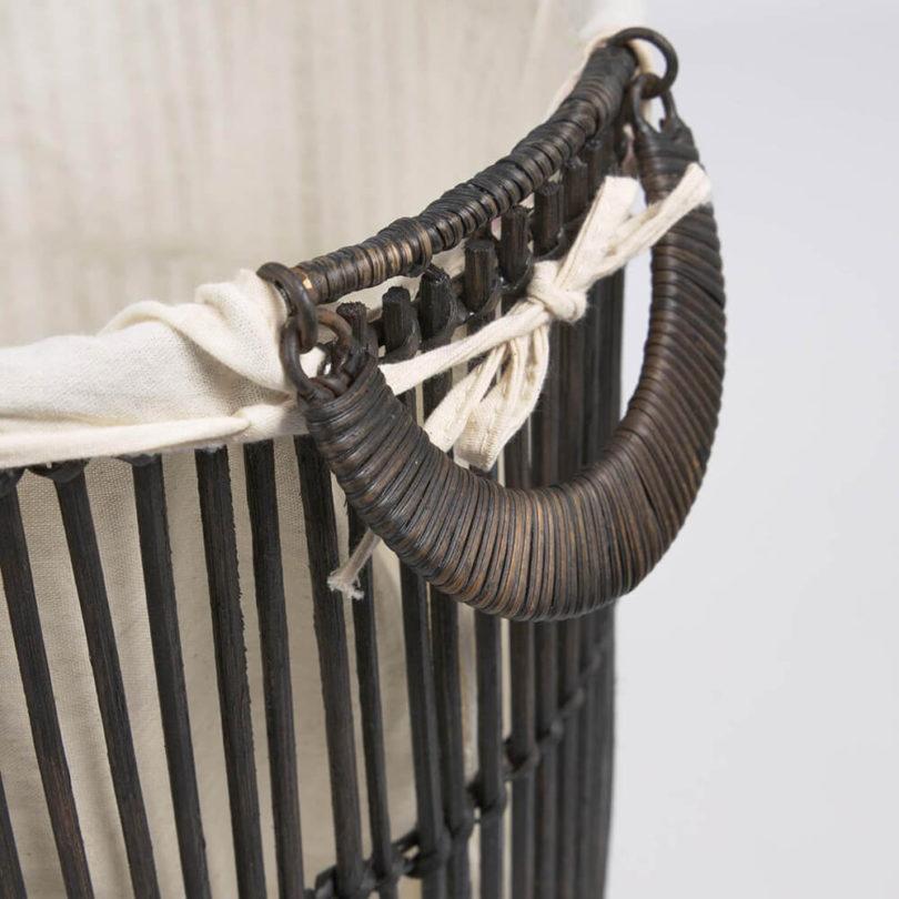 Ratanová sada 2 košů na prádlo Anyaf černá
